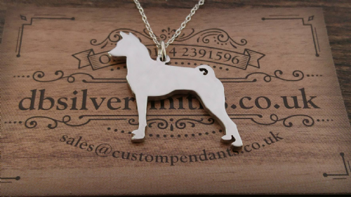 Basenji dog pendant sterling silver handmade by saw piercing Caroline Howlett Design